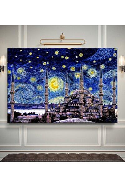 NurStore Vincent Van Gogh - Yıldızlı Gece Sultanahmet Cami Istanbul Kanvas Tablo