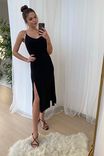 Modakapimda Siyah Sırt Dekolteli Ip Askılı Yırtmaçlı Elbise