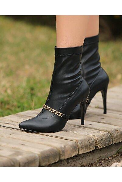 Gamze Shoes Kadın Siyah Zincirli Bot