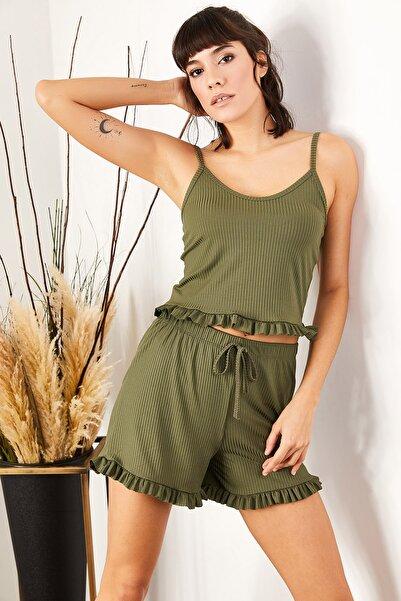 Olalook Kadın Haki Askılı Fırfırlı Pijama Takımı TKM-19000076