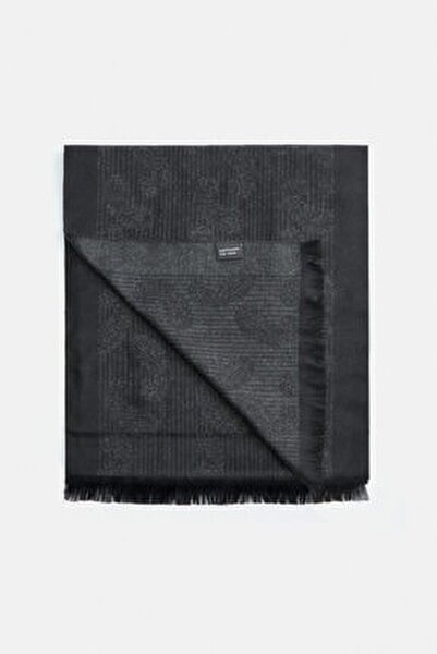Erkek Siyah Şal Desenli Şal A02y9419