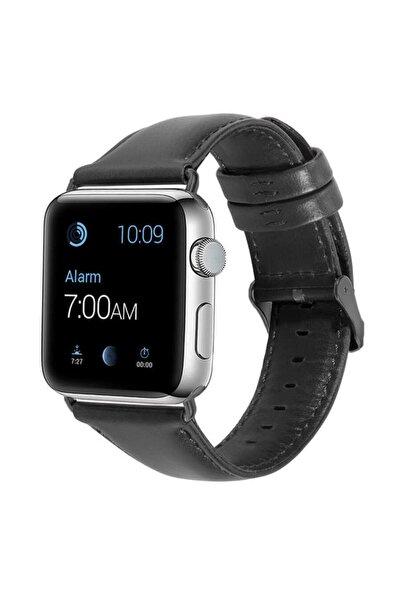 zore Apple Watch 1 2 3 4 5 6 Se Serisi 44mm Kordon Deri Dikişli Leather Klasik Kayış