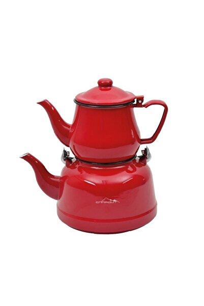NURGAZ Kırmızı Campout Emaye Çaydanlık Set Ng180