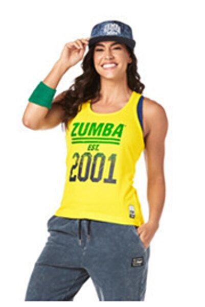 ZUMBA Kadın Sarı Ribbed Tank Atlet