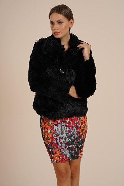 Markosin Kadın Siyah Suni Kürk Peluş Ceket