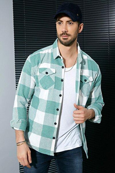 Sateen Men Erkek Ekru-Çağla Oduncu Gömlek
