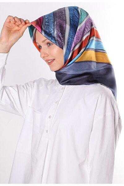 Silk Home Kadın Lacivert Twill İpek Eşarp