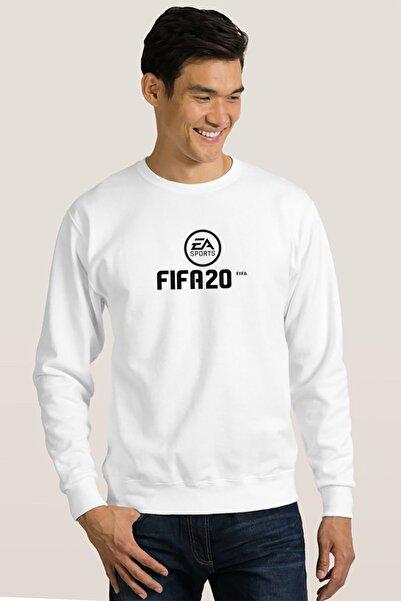 QIVI Erkek Beyaz Fıfa 2020 Baskılı Örme Sweatshirt