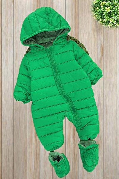 Midimod Gold Unisex Bebek Yeşil Kışlık Ayaklı Kapüşonlu Kozmonot Tulum