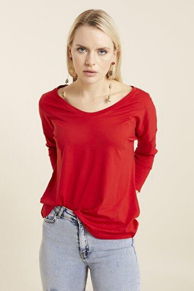 Hanna's by Hanna Darsa Kadın Kırmızı Geniş Yakalı Basic T-shirt