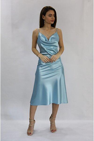 ROZALLİNİ Kadın Bebe Mavi Ince Askılı Yandan Yırtmaçlı Saten Elbise