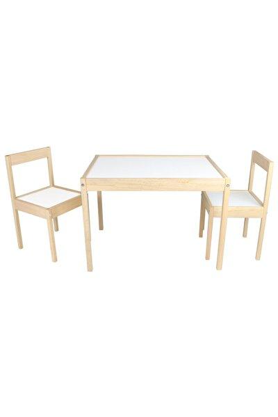 EDU DİZAYN Seya Ahşap Çocuk Çalışma Masası Masa Sandalye Takımı Ahşap Çocuk Masası