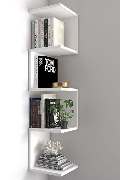 dekoronya Ivy Zig Zag Köşe Duvar Rafı / Kitaplık Beyaz