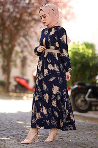 InStyle Fırça Desen Kemerli Elbise - Lacivert