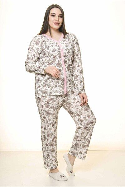 Moday Kadın Pembe Düğmeli Geniş Kesim Pijama Takımı 31a-1554