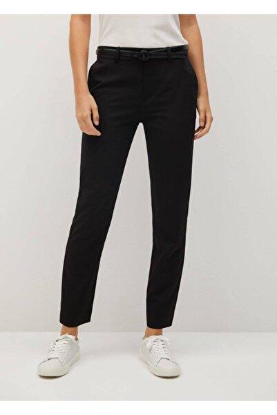 MANGO Woman Kadın Siyah Kemerli Kumaş Pantolon 77030108