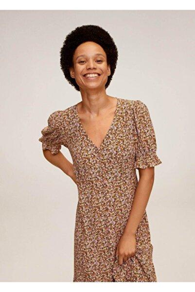 MANGO Woman Kadın Pastel Sarı Çiçekli Elbise 77002519