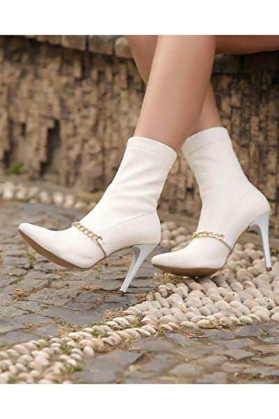 Gamze Shoes Kadın Beyaz Zincirli Bot