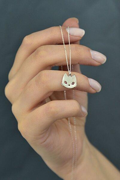 Papatya Silver Kadın Gri 925 Ayar Plaka Kesim Gümüş Kedi Kolye