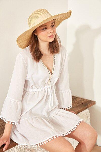 C&City Kadın Hasır Şapka Y1730-19 Orta Bej