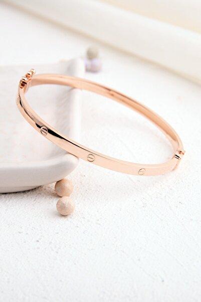 Rachel Silver Elişi Üretim Vidalı Model Rose Renk Kelepçe Gümüş Bilezik