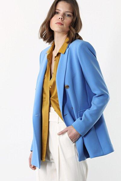 Network Kadın Regular Fit Mavi Kruvaze Ceket 1078879