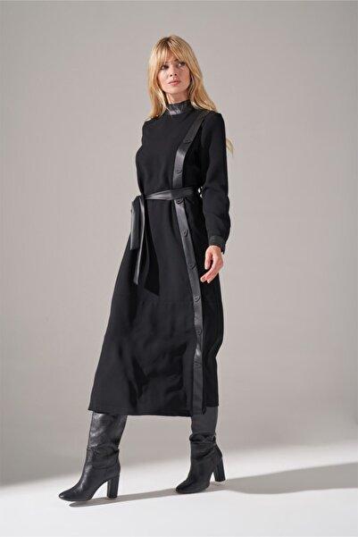 Mizalle Deri Şeritli Krep Elbise (SİYAH)