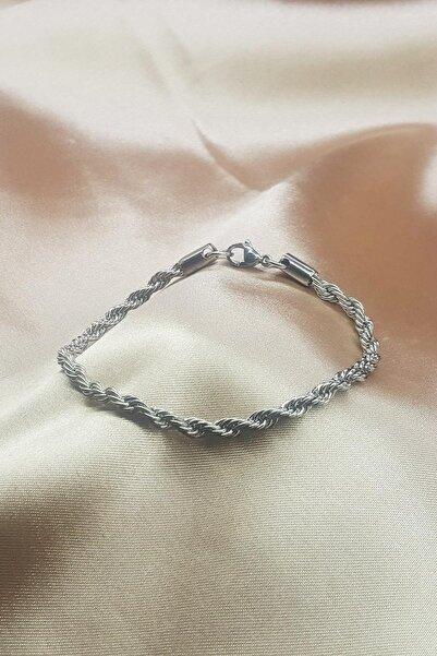 TENA MODA Kadın Gümüş Hasır Zincir Bileklik