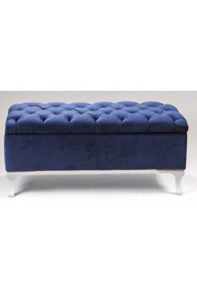 Karetta Mobilya Mavi Sandıklı Puf  90cm