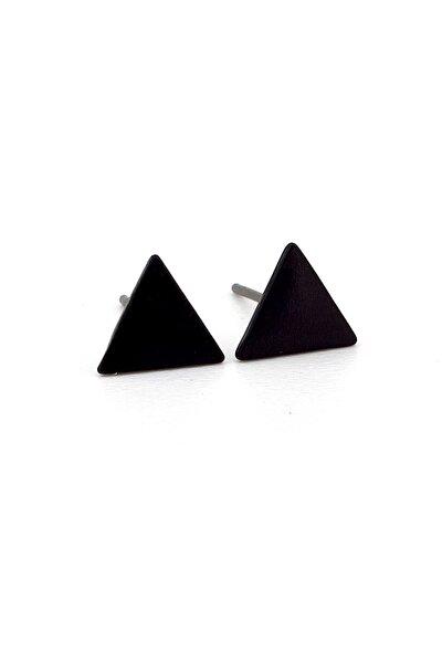 Solfera Mat Siyah Renk Üçgen Şekilli Erkek Kadın Küpe E877