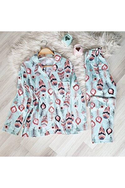 NO BRAND Gömlek Yaka Buz Mavisi Karma Desen Süprem Pijama Takımı