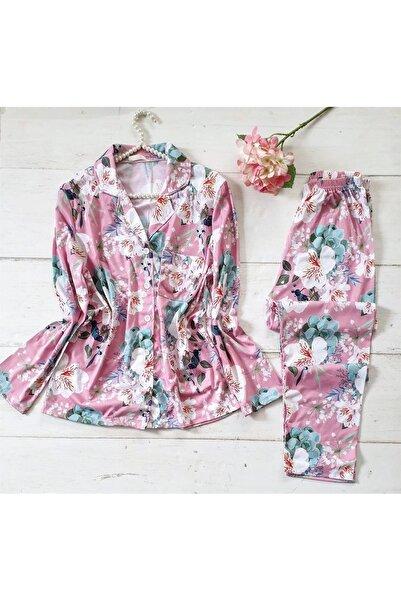 NO BRAND Gömlek Yaka Pembe Bahar Çiçeği Desenli Süprem Pijama Takımı
