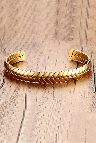 Chavin Kadın Altın  Örgü Kelepçe Dizayn Çelik Bileklik Eh05