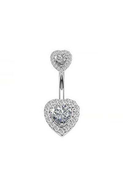 Çift Kalp Taşlı Komple Taşlı Göbek Piercing Eg58by