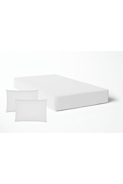 Anemons Çift Kişilik Saten Lastikli Çarşaf - Beyaz( Yastıklı)