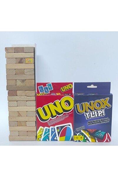 Brother Toys 54 Parça Büyük Boy Denge Oyunu - 108 Kartlı Uno - 112 Kartlı Unox Tlip 3'lü Aile Oyunu Seti