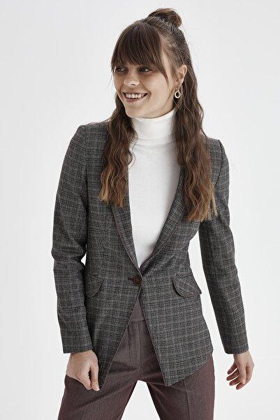 Chima Kadın Bordo Tek Düğme Biyeli Ekose Ceket