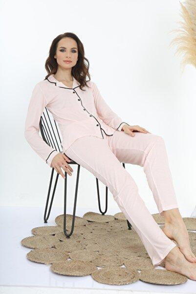 loveella pijama Kadın Pembe Pamuk Ribana Önü Açık Pijama Takımı