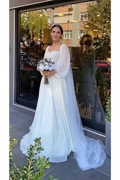 Mediha Cambaz Bridal Marıa Ipek Şifon Drape Detaylı Kruvaze Yaka Helen Sade Düz Kesim Gelinlik