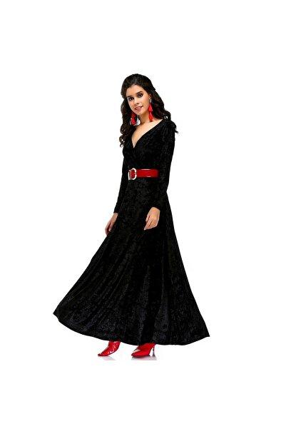 Bonalodi Kadın Kruvaze Yaka Maxi Kloş Siyah Kadife Uzun Elbise