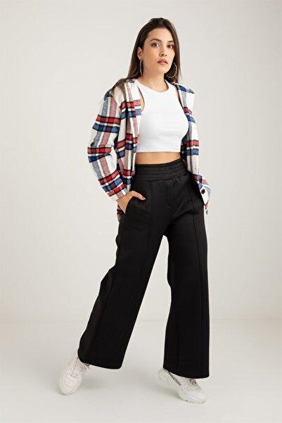 Ortaya Çık Kadın Siyah Geniş Paça Scuba Pantolon