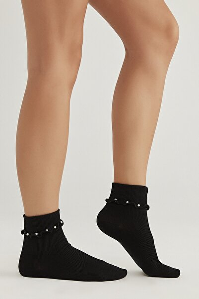 Penti Siyah Pearly Soket Çorap