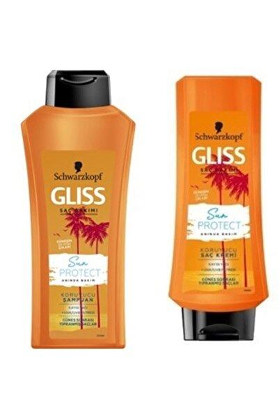 SCHWARZKOPF HAIR MASCARA Glıss Sun Protect Şampuan 360 ml + Saç Kremi 360 ml
