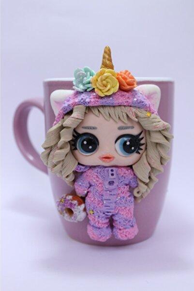 EvimShopping Unicorn Pembe Kıyafetli Sevimli Kız Bebekli Kupa