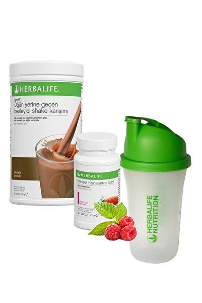 Herbalife Shake Çikolata 550 gr + Çay Ahududu 50 gr + Shaker