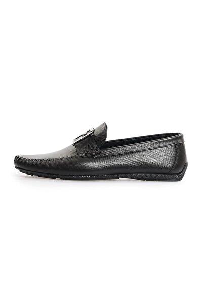 Flower Siyah Deri F Tokalı Erkek Loafer Ayakkabı