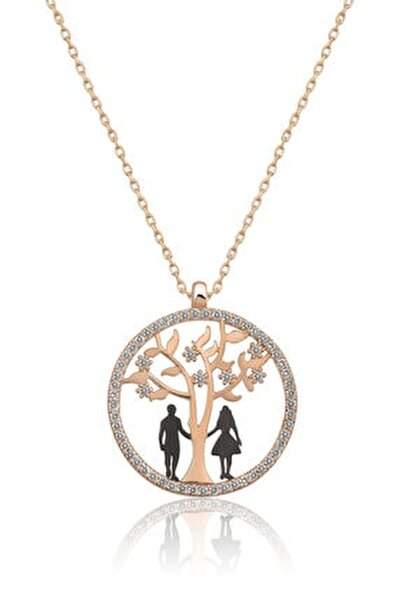 Hayat Ağacı Sevgili Aşk Kolye Rose Gold Kaplama 925 Ayar Gümüş Uvps100506