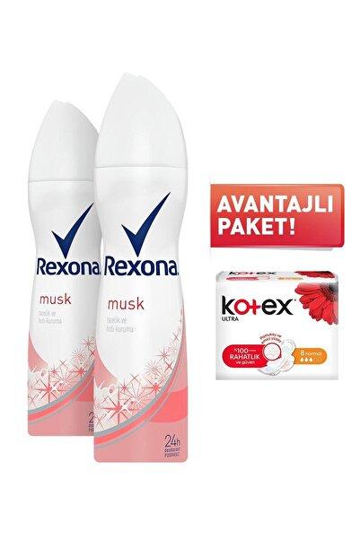 Rexona Musk Kadın Sprey Deodorant 150 ml X 2 Adet + Kotex 8'l Normal