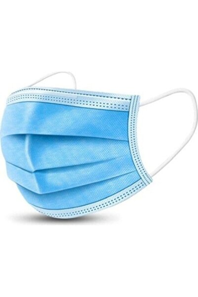 GLOBAL AS Mavi 3 Katlı Lastikli Telli Kokusuz Cerrahi Maske 50 Lık Kutu