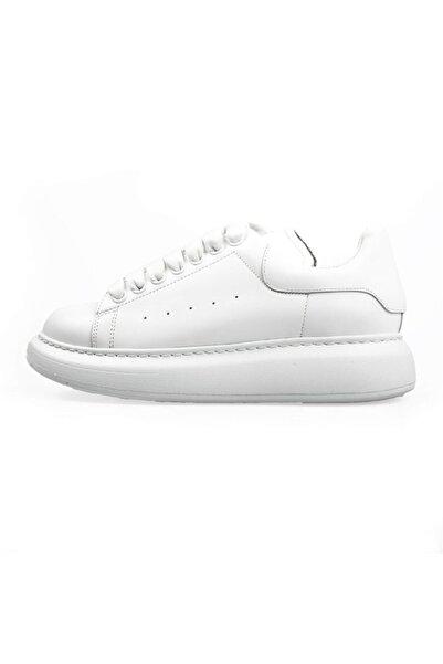 Flower Kadın Beyaz Deri Yüksek Tabanlı Spor Ayakkabı